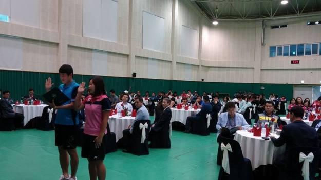 選手宣誓はパクキュチョルとキムエーギョン。ともにアジア競技大会の代表であり、韓国チームの中心選手。