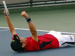 2013東アジア競技大会男子シングルス決勝直後。