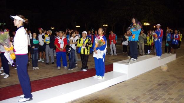 前回(第七回台湾大会)女子シングルスのメダルセレモニー)