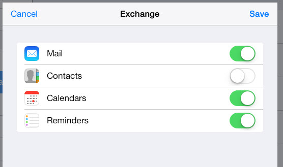 sync gmail contacts, calendars, notes to ipad via exchange