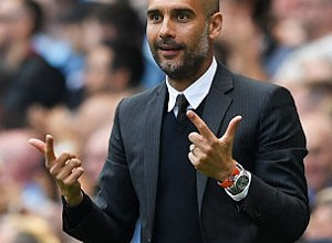 during the Premier League match between Manchester City and AFC Bournemouth at the Etihad Stadium on September 17, 2016 in Manchester, England.