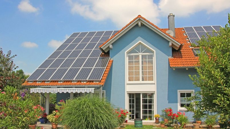 Solar Panels on a modern home