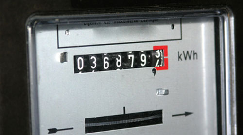 An electricity meter reading kWh