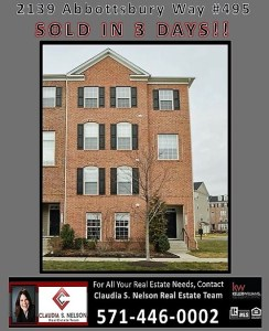 JUST SOLD 2139 Abbottsbury in Potomac Club SOLD IN 3 DAYS!