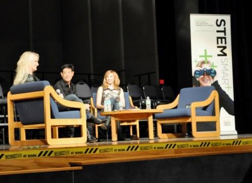 Grant Imahara (Center) and Kari Byron (Right) Talk About Debunking Myths on MythBusters