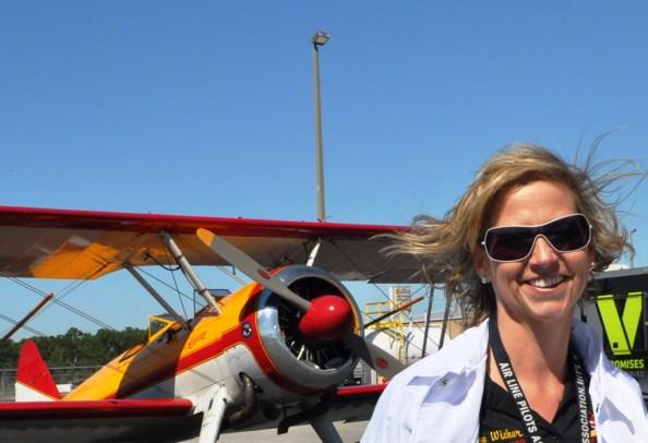Jane Wicker, Wing Walker, at the Florida International Air Show Media Day, Punta Gorda, Fla., March 21, 2013
