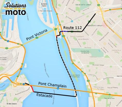 Tracé détaillé d'une voie de contournement pour moto entre Montréal et sa rive-sud via l'estacade du pont Champlain (tracé sur Google Maps)
