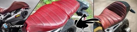 Selles custom réalisée par l'atelier «Ça Roule Ma Poule» pour des BMW R NineT