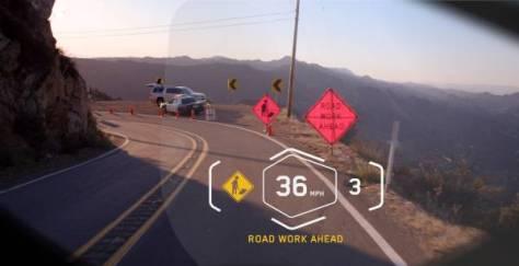 Vue de travaux routier interpréter comme un danger par le système HUD