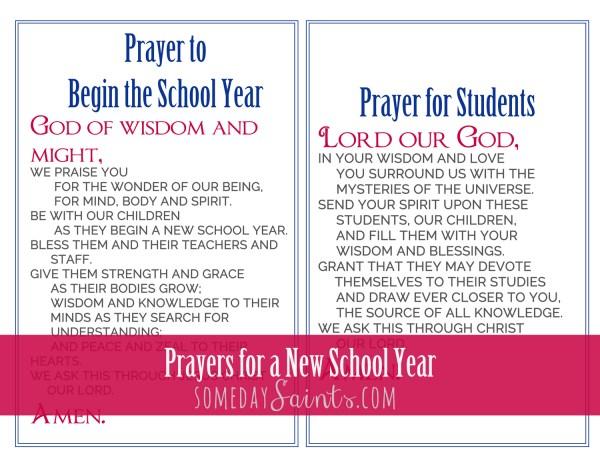 Prayers for a New School Year on Somedaysaints.com