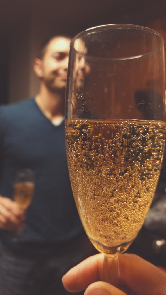 We popped open champagne from our honeymoon...it was not yummy