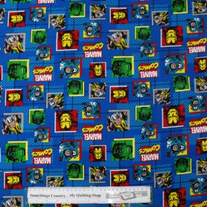 Quilting Patchwork Cotton Sewing Fabric MARVEL COMICS BLUE 50x55cm FQ NEW Material www.somethingscountry.com