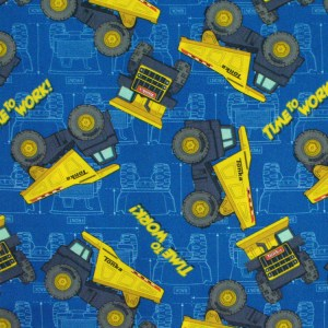 Quilting Patchwork Cotton Sewing Fabric TONKA TRUCKS BLUE 50x55cm FQ NEW Material www.somethingscountry.com.au