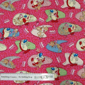 Quilting Patchwork Cotton Sewing Fabric REN & STIMPY NICKELODEON 50x55cm FQ NEW Material www.somethingscountry.com