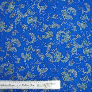 Quilting Patchwork Cotton Sewing Fabric ROYAL BLUE METALLIC PAISLEY 50x55cmFQ NEW