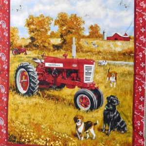 Patchwork Quilting Sewing Fabric FARMALL TRACTOR LARGE Panel 90 x 110cm New Material
