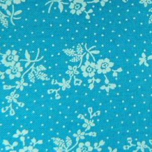 Patchwork Quilting Sewing Fabric AZURE BLUE White Flowers FQ 50x55cm New Material