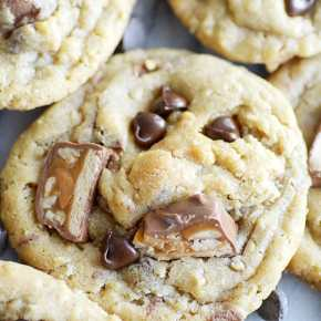 The ultimate soft baked, super chewy cookie loaded with hearty oats and Snickers candy bars!