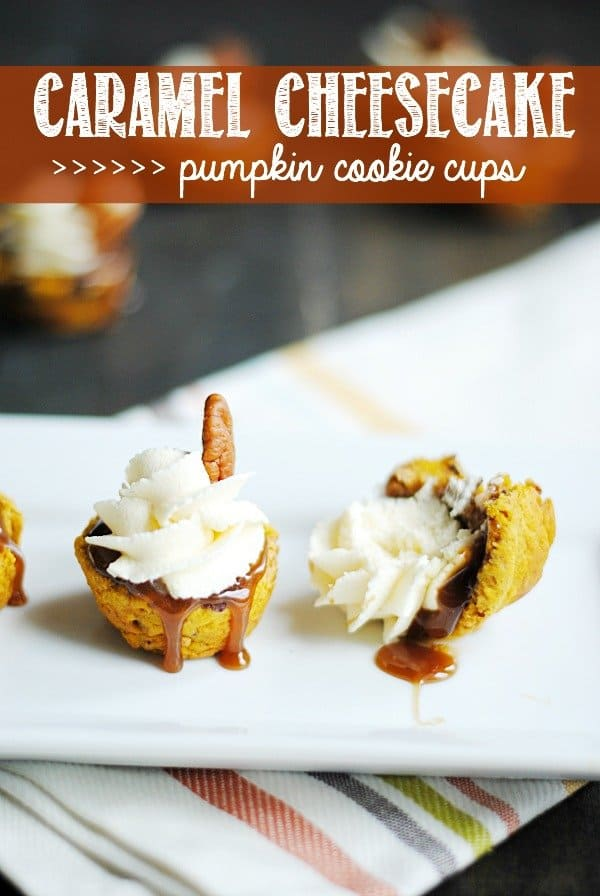 Pumpkin Chocolate Chip Cookies pressed into cups holding caramel sauce and cheesecake buttercream! Delicious, impressive, and perfect for Fall!