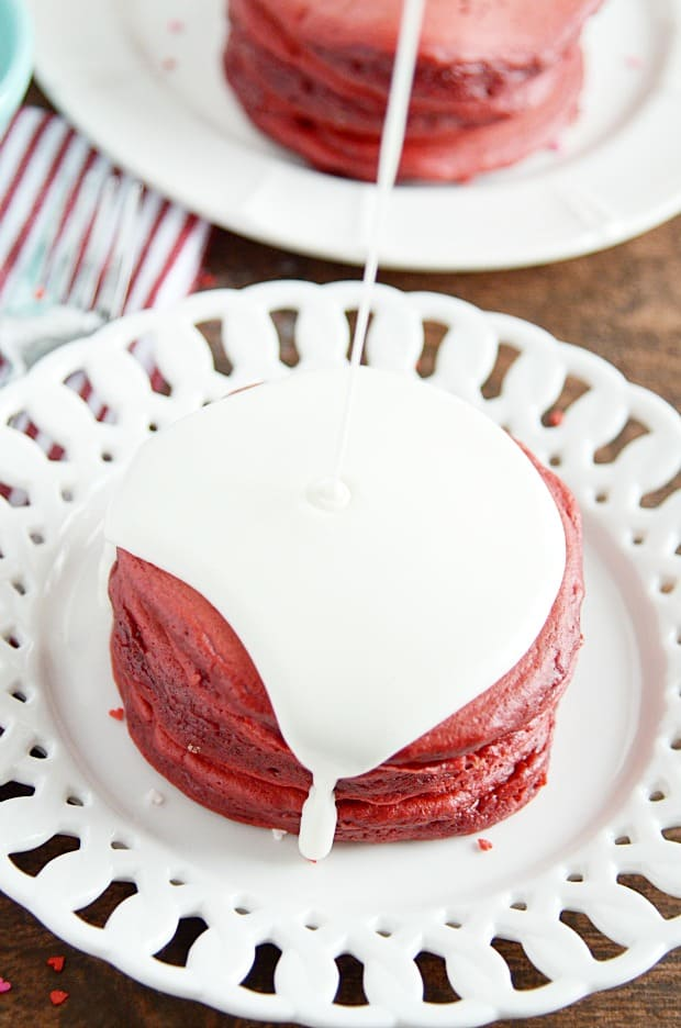 How about a vibrant red velvet batter that makes fluffy, delicious, beautiful pancakes?