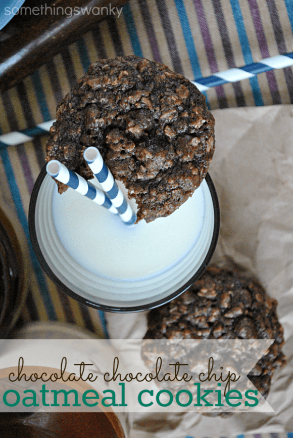 Chocolate Chocolate Chip Oatmeal Cookies | I turn into Cookie Monster when we bake these... #cookies #oatmeal #recipe