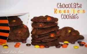 chocolate reeses pieces cookies.bellaroos