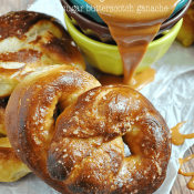 Homemade Soft Pretzels with Brown Sugar Butterscotch Ganache | www.somethingswanky.com