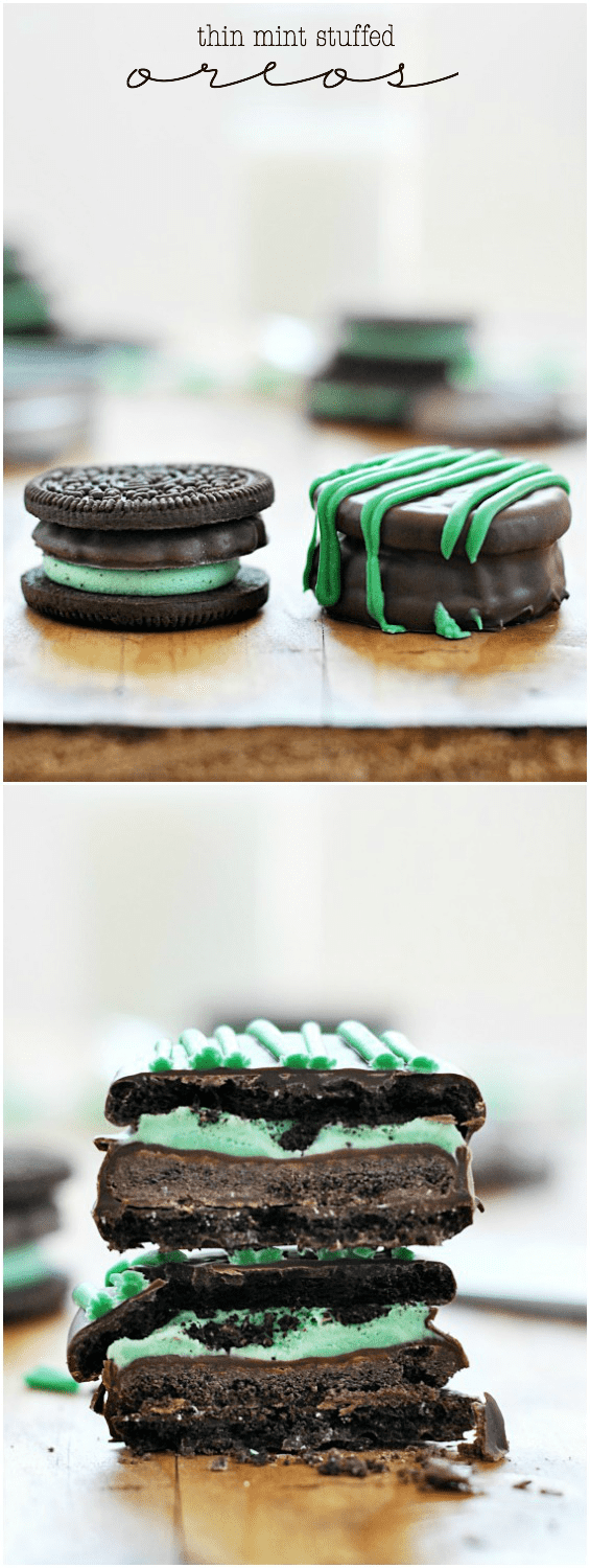 Thin Mint Stuffed Oreos | www.somethingswanky.com #3weeksofGScookies