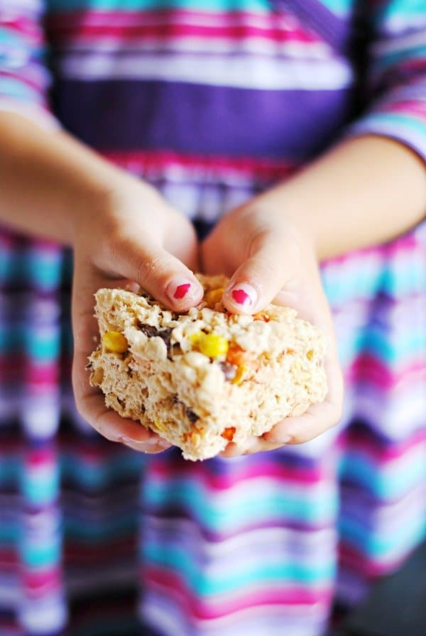 Reese's Pieces Rice Krispie Treats - Something Swanky