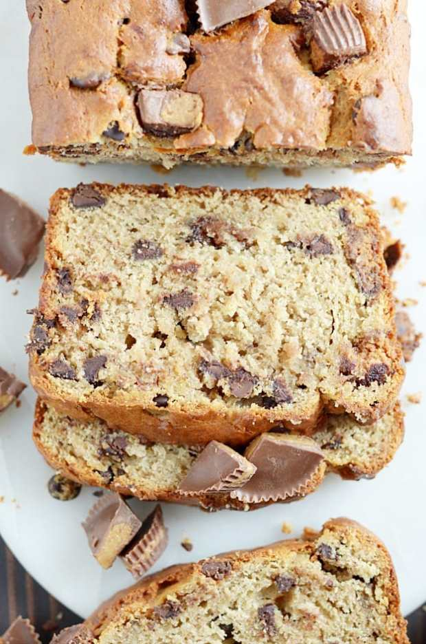Super moist banana bread made with peanut butter and Reese's cups. We ...