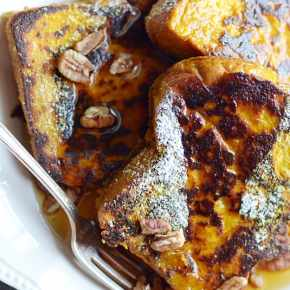 This Pumpkin French Toast is the perfect recipe for a cozy Fall breakfast. So easy too!