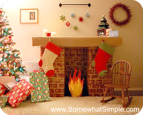 DIY faux fireplace for handing stockings