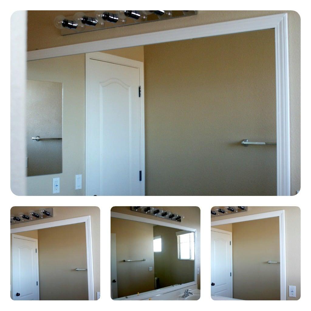 frame your bathroom mirror over plastic clips. Black Bedroom Furniture Sets. Home Design Ideas