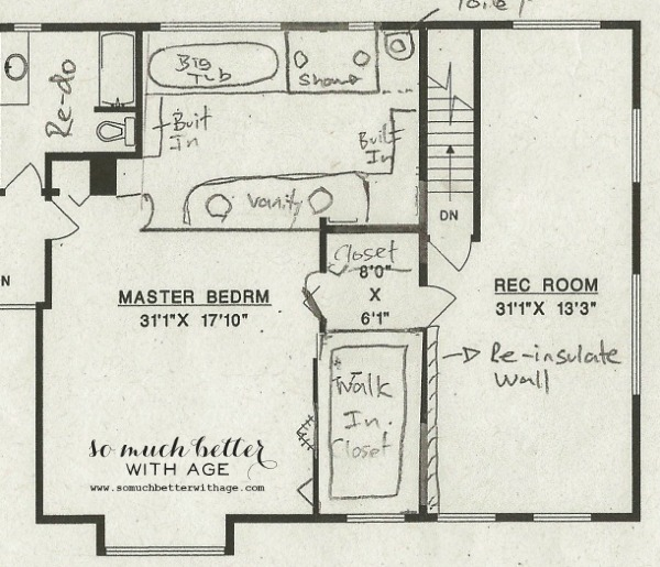 Floor plan / master bedroom style and floor plan via somuchbetterwithage.com