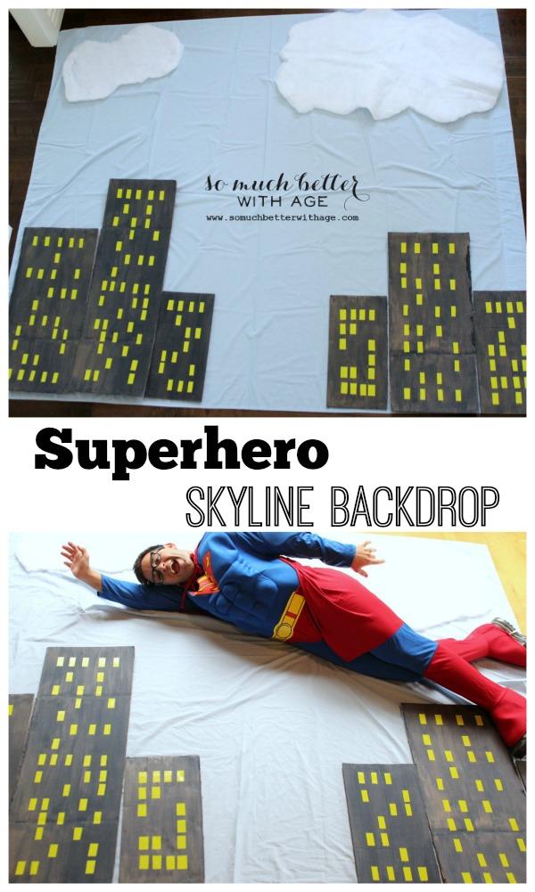 Superhero skyline backdrop via somuchbetterwithage.com