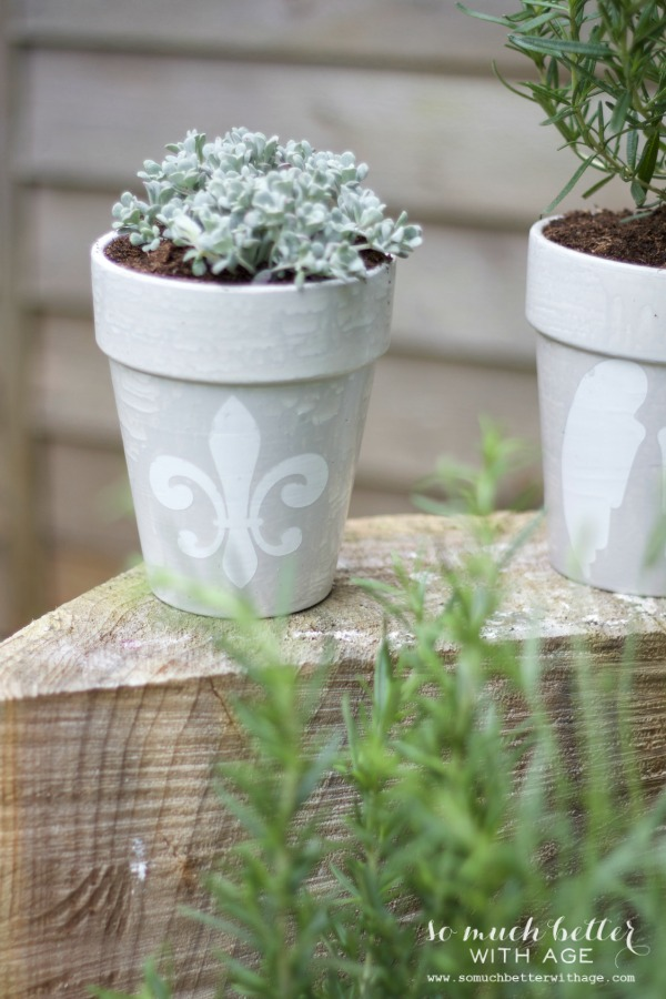 Grey / French glazed plant pots via somuchbetterwithage.com