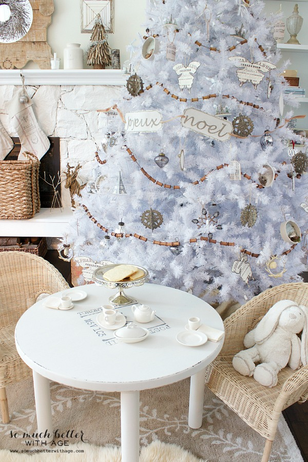 White Christmas tree and tea party | somuchbetterwithage.com