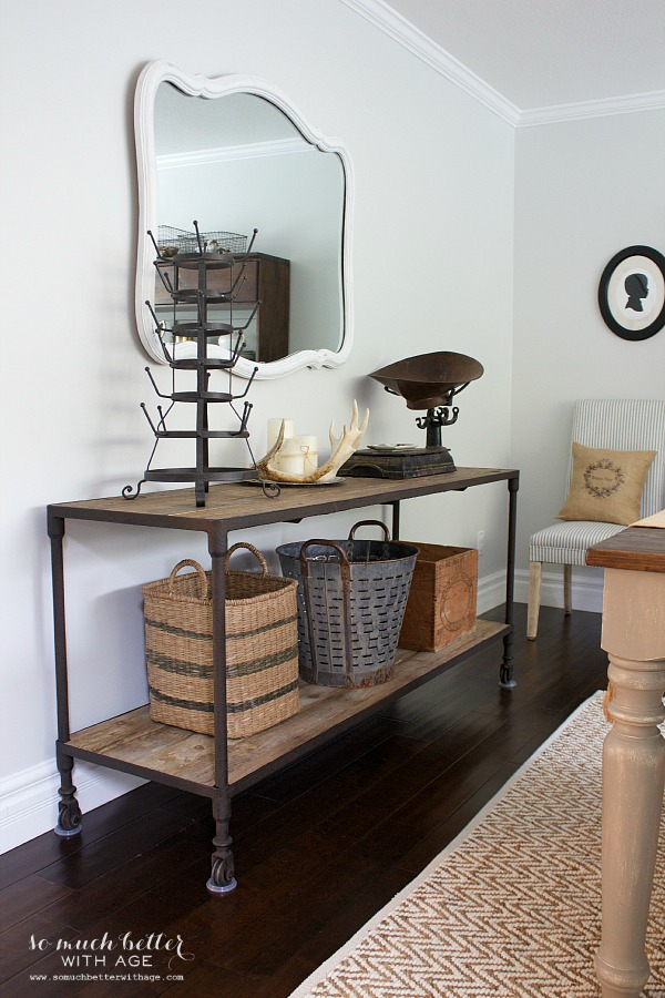 Industrial cabinet dining room | somuchbetterwithage.com