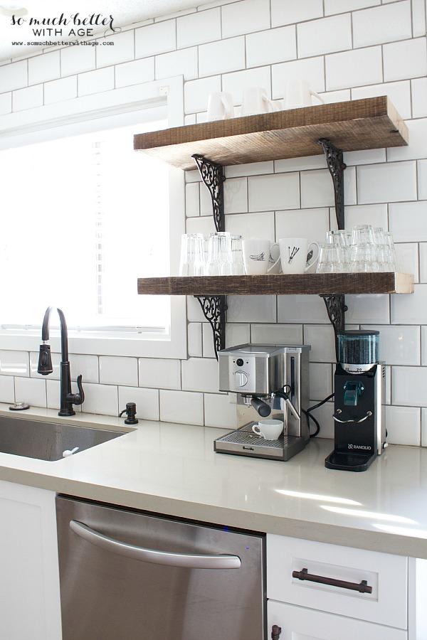 Rustic kitchen shelves | somuchbetterwithage.com