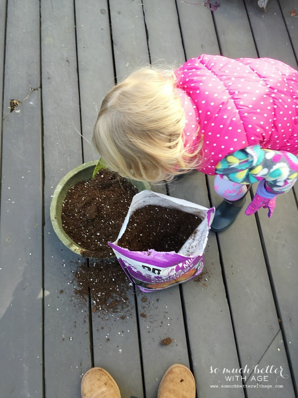 Planting with mommy