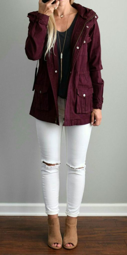 fall outfit white jeans with booties and burgundy jacket