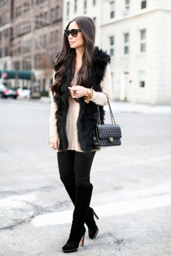 with love from kat black furry vest fall winter look