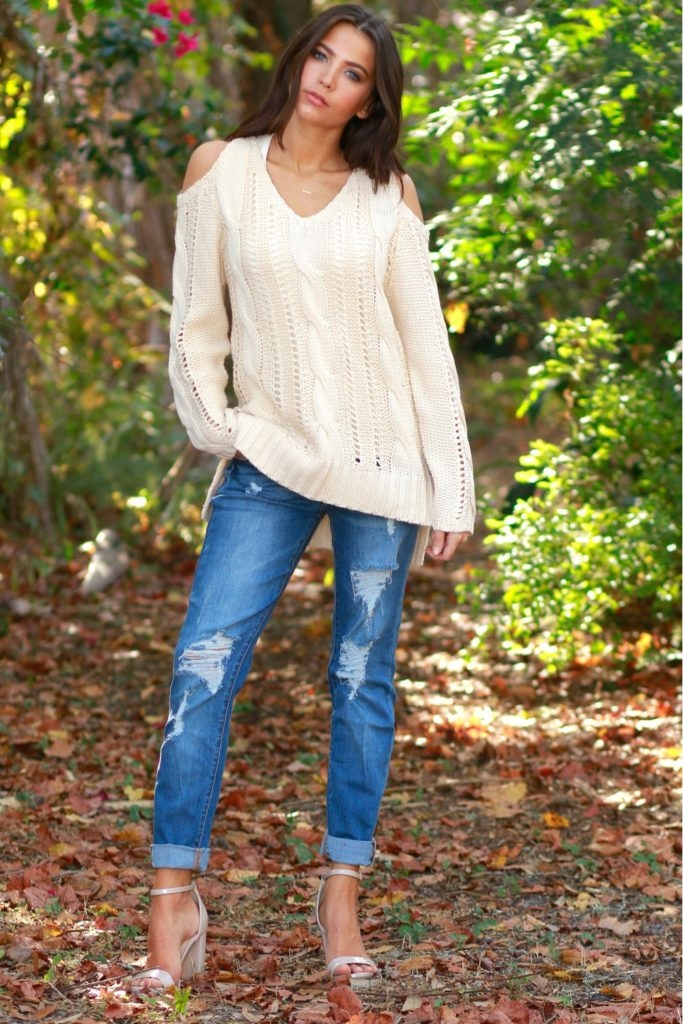 cut out shoulder sweater fall winter outfit