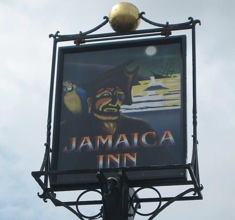 Sign at Jamaica Inn, Bolventor, Bodmin Moor, Cornwall
