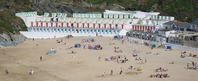 Beach and beach huts at Newquay, Cornwall