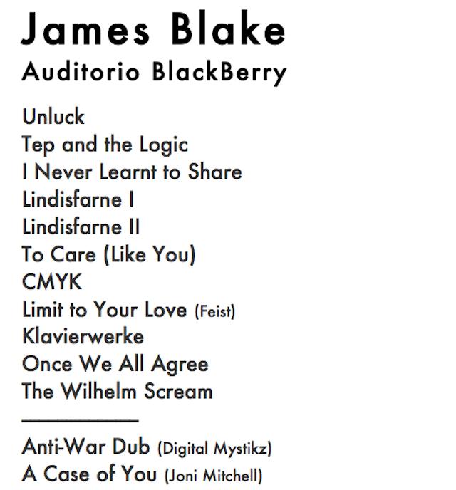 """ALT=""""Setlist James Blake en México"""""""