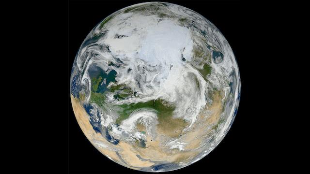 polo norte desde el espacio