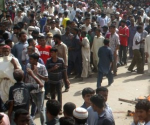 Operation against alleged criminals in the restive Lyari area of Karachi