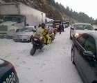 Caos en carretera México-Toluca: granizo bloquea circulación por 10 horas