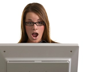 A young office worker is shocked by the subject matter of her junk emails.